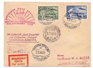 RUSSIA 1931 COVER FRONT USEDD 35k & 2r ZEPPELINS POLAR FLIGHT