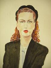 Aquarelle originale signée Boissonnade Portrait de femme Water Color