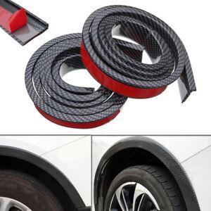 2X 4.9ft Carbon Fiber Universal Car Wheel Fender Flares Moulding Protector Lip