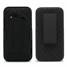 HTC Incredible 4G LTE Verizon Black Shell and Holster Swivel Combo Case