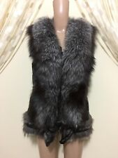 NWT Women's Real Fox Fur Leather Vest Black Color