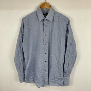 Lagerfeld Mens Button Up Shirt Size 40 M/L Blue Polka Dot Long Sleeve Collared