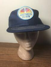 Vintage NBC Peacock JUST WATCH US NOW Advertising Hat Patch Baseball Cap Blue