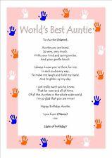 Personalised Happy Birthday Keepsake World's Best Aunty Auntie Certifcate Gift