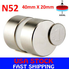 N52 Large Neodymium Rare Earth Magnet Big Super Strong Huge Size 40mm*20mm