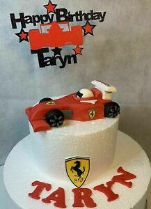 EDIBLE FERRARI F1 RACING CAR CAKE TOPPER RACING, GRAND PRIX BIRTHDAYS