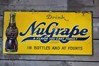 Rare ORIGINAL OLD 1930's DRINK NUGRAPE SODA METAL ADVERTISING SIGN IN BOTTLES