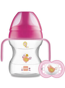 MAM Learn To Drink Cup 190ml With Handles, Valve & Dummy - 6mth + (Pink) *NEW*