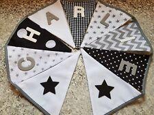 PERSONALISED BUNTING- BLACK,  WHITE & GREY MIX,  STARS-£1 PER FLAG, FREE P&P