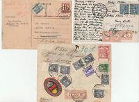 STORIA POSTALE 1929/43 REGNO 1 FRONTE E 2 LETTERE DALL'ESTERO E TASSATE Z/1304