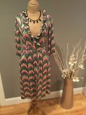Lilly Pulitzer Ruffle Geometric Printed Faux Wrap Dress Long Sleeve Work - XS