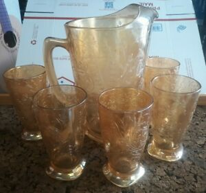 """Vintage Jeanette Glass Company """"Louisa Floragold"""" Pitcher and 5 Glasses Set"""