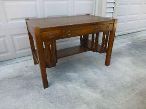 Antique Signed Mission Tiger Oak Desk 1900