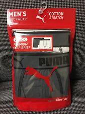 PUMA Men's Premium boxer brief 2 pack White/Gray- LARGE