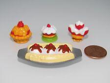 DESSERT BANANA SPLIT ICE CREAM,TART,CAKE FOR/FITS DOLLHOUSE MATTEL BARBIE DOLL