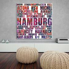 """HUMMEL HUMMEL"" +++ Hamburg LEINWAND BILD +++ 20x20 cm +++ WITZIGE GESCHENKIDEE!"