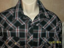 Men Shirt Wrangler Western Long Sleeve Snap Button Down Size X-Large XL