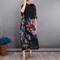 Womens Long Dress Vintage Silk Loose Caftan Fit Maxi Plus Size Printing Loose
