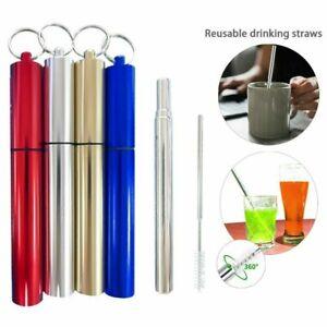 Stainless Steel Telescopic Drinking Straw Travel Metal Straw Cleaning Brush UK