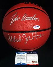 John Wooden And Kareem Abdul-Jabbar Signed Wilson NCAA Basketball *UCLA BAS/PSA