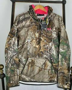 NWT UNDER ARMOUR LARGE $75 Womens ColdGear Hoodie Sweatshirt UA Camo NWT Pink
