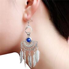 1Pair Native Filigree Half Moon Bohemian Boho Pearl Cage Chandelier Earrings