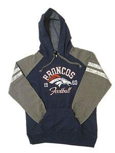 New NFL Women's Denver Broncos Hoody Sweatshirt Small Large Navy Distressed