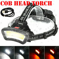 COB LED Headlamp Waterproof Head Torch Flashlight Work Light Outdoor Camping