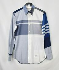 THOM BROWNE Plaid Blue Button Down Front Dress Shirt Size 1 Men's Small Check