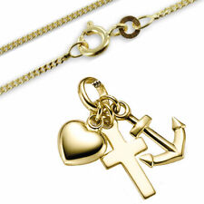 Anhänger Glaube-Liebe-Hoffnung mit Kette-Sterling Silber 925, gelbgold vergoldet