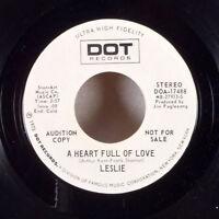 """Leslie A Heart Full of Love / Howard 7"""" 45 Dot WLP Promo DJ radio M-"""