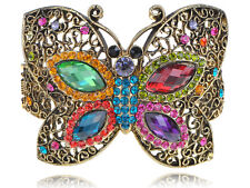 Colorful Crystal Rhinestone Bead Butterfly Bracelet Bangle Cuff Unique Jewelry