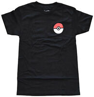 Pokemon Trainer Small Chest Logo Black Men's Graphic T-Shirt New