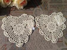 "TWO Lovely Heart Shape Cotton Hand Corchet Doily 6""--Beige"