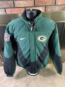 Vintage Green Bay Packers NFL Football Puffer Jacket Men Small Reebok Pro Player