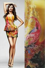 Meter Gold, Paisley Silk Charmeuse Fabric Material Crepe Back+Free SQ Button