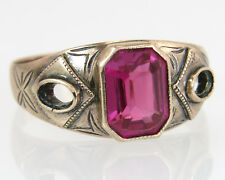 Antique Estate Engraved 12K Yellow Gold 2.00ct Ruby Art Deco Dinner Ring