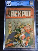 JACKPOT COMICS #6 CGC GD+ 2.5; CM-OW; rare!; WWII bondage cvr!