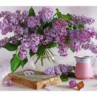 5D DIY Diamond Painting Purple Flowers Cross Stitch Embroidery Mosaic Kit