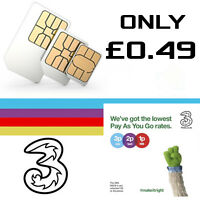 NEW OFFICIAL PAY AS YOU GO THREE 3 NETWORK PAYG 3G TRIO UK SIM CARD Nano Micro