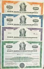 Glen Alden Corporation > set of 4 bond certificate coal stocks share scripophily