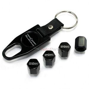 Ford Thunderbird New Logo Black Tire/Wheel Stem Air Valve CAPS +Wrench Key Chain