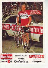 CYCLISME carte DEWITTE RONALD equipe flandria shimano confortluxe 1975 signée