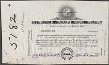 """Pittsburgh Screw & Bolt Co."" Capital Stock - Rare Aviation Proof Cert. Bn7081"