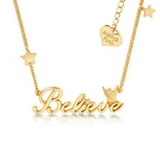 Disney Couture Classic 14kt Gold-Plated Believe Word Tinkerbell Necklace