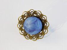 Bague Ronde Bronze Cabochon Bleu Marbré Irisé