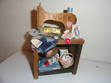 "CUTE HANDMADE WOODEN ""SINGER"" SEWING MACHINE"