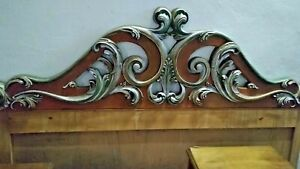 Head Double Bed Style Baroque Carving Painted Colorful Gold Silver