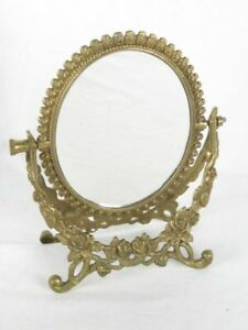 Vintage BRASS EMBOSSED Ornate Floral Swivel Double-Sided Dresser MIRROR