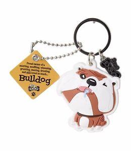 Bulldog 3D Key Ring Bag Charm Tag Dog Lovers Gift Stocking Filler